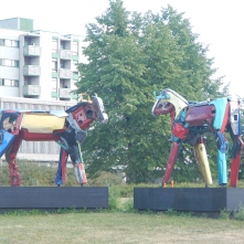 Cows by Helsinki-based sculptor Miina Äkkijyrkkä